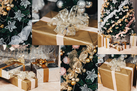 frippery: elegant Christmas tree decorated. a lot of different gifts under the tree, a beautiful gift box, festive feeling, Christmas concept. collage Stock Photo
