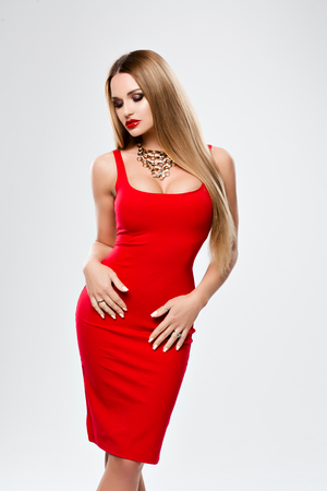 Red dress gold necklace