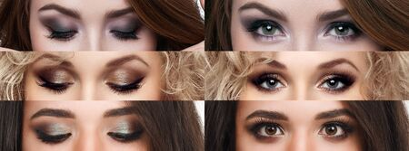 eyeshadow: The collage closed and open eyes with different makeup. Bright makeup, cosmetics, mascara, eyeshadow. Beauty and fashion Stock Photo