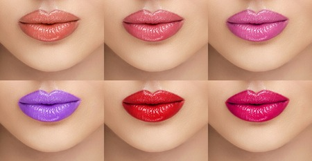 Collection lipsticks. Female lips with different colors of lipstick. A collage of six female lips. Beauty, fashion, care, cosmetics Banco de Imagens
