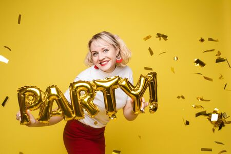 portrait of beautiful woman celebrating a party and having fun Reklamní fotografie