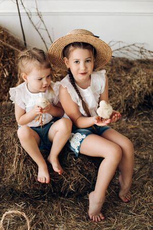 Süße Mädchen in Heuhüten, die kleine Hühner im Dorf halten