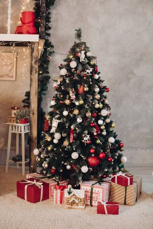 Lovely Christmas room with fir tree.New Year concept.