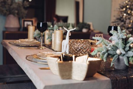 Beautiful table is setting for Christmas dinner