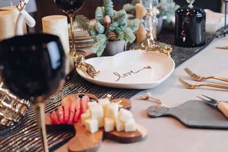 Close up of New Year table decor at home
