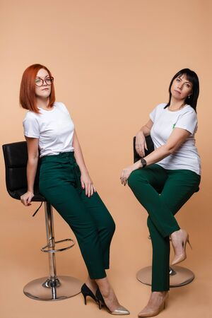 Two colleagues sitting on bar stools. Two pretty young adult women in corporate look posing on bar stools.