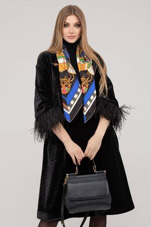 Fashionable stunning woman in fur coat with handbag. Banque d'images
