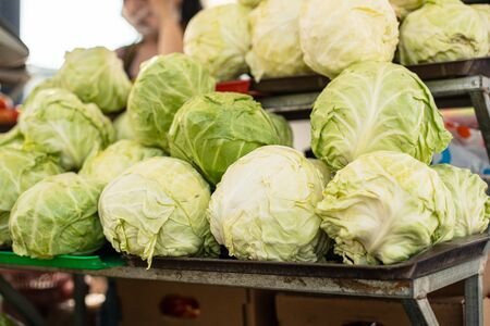 Close up of fresh cabbage from the garden is on sale in the market while lying on the shelf. Vegetarian food concept 版權商用圖片 - 150181476