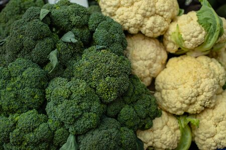 Fresh broccoli and cauliflower on the market 版權商用圖片