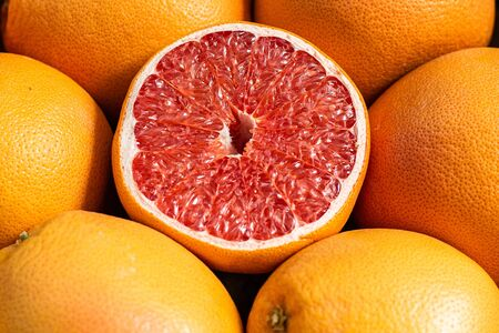 Group of oranges ready for sale on the market