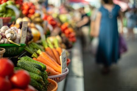 Close up of colorful array of vegetables at a fresh food market. Market and trade concept 版權商用圖片 - 150394016