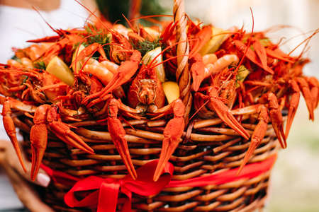 Large basket with cooked red large crayfish 版權商用圖片