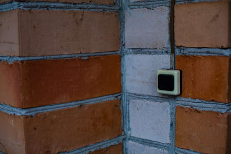 Picture a wall of white and red brick. Brick wall, close up 版權商用圖片
