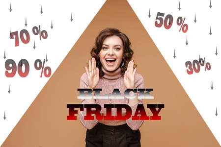 Happy young woman happily informs the viewer that the store has big discounts and Black Friday