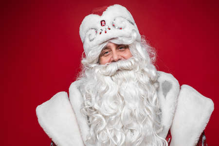 Delighted Santa Claus with white beard. Stok Fotoğraf