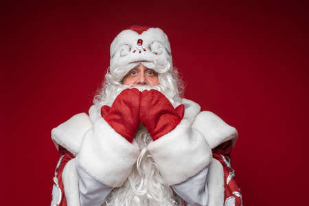 Father Frost with hands by mouth looking at camera. Stok Fotoğraf