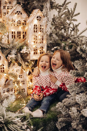 Laughing children in Christmas decorations.