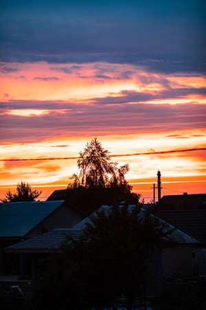 Very beautiful landscape of the evening sky with clouds, sunset. Blue, orange sky