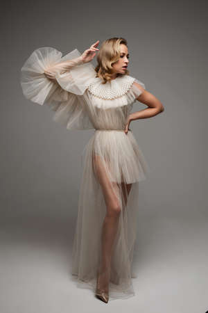 Vogue full length woman in fashionable dress. 版權商用圖片