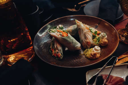 Healthy vegetable rolls on plate. Stok Fotoğraf