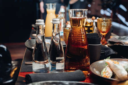 Drinks of the table in restaurant. served food at banquet. Stok Fotoğraf