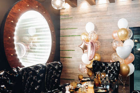 Celebration in fashionable restaurant interior photo without people
