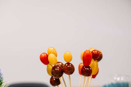 Delicious cherry tomatoes snacks.Copy space. Snack and food concept. Stok Fotoğraf