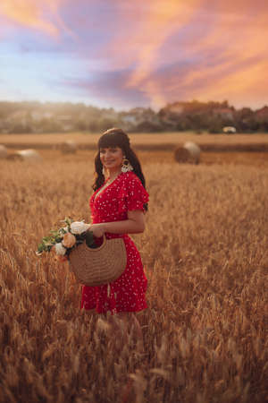 Gorgeous woman in red in field. Zdjęcie Seryjne