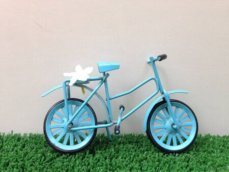 sanguine: Blue Bicycle with flower Stock Photo