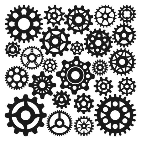 Black gear icons isolated illustration.