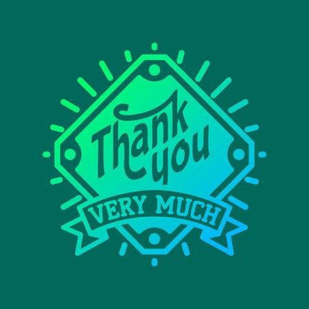 Thank you text lettering badge Stock Illustratie