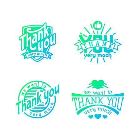 Thank you text lettering badge Ilustracja