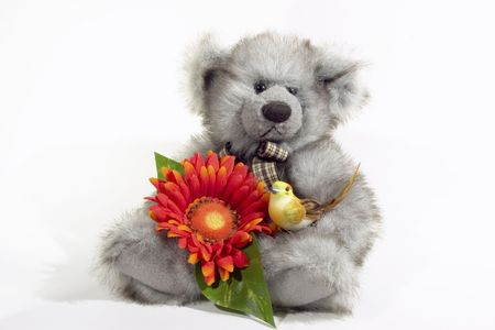 Teddy Bear with orange flower and yellow bird photo