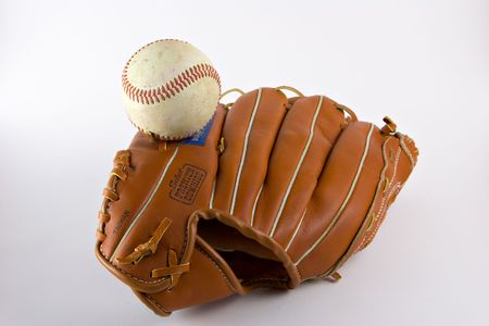 hardball: Fielders baseball mitt or glove with baseball on white