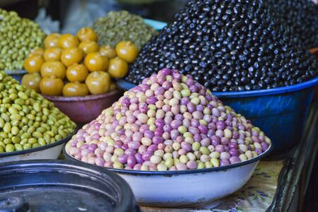 oiled: different types of olives being sold at Marrakech market