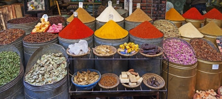 panoramic view of various spices in the souk of Marrakesh, Morroco