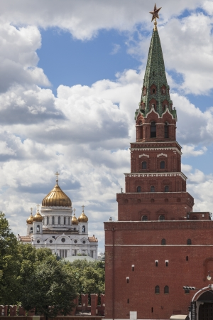 red cross red bird: View of the Cathedral Christ the Saviour from the Kremlin  Moscow