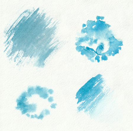 Blue horizontal watercolor gradient hand drawn samples of paint brush strokes, blots, blobs and drops. Sea background painted on the special paper