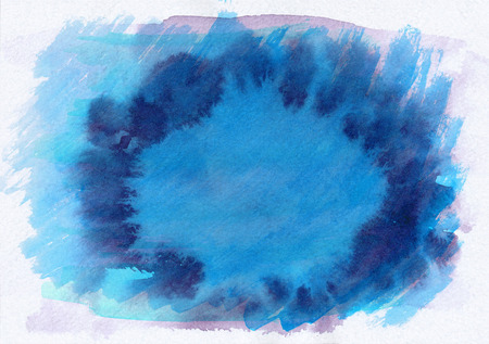 Blue and purple dark horizontal  watercolor  gradient  hand drawn  background. Middle part is lighter than other sides of image.