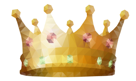 Low polygonal king's golden crown with red and green jewel gem stones. Modern triangle geometric style. Vector illustration isolated on white background.