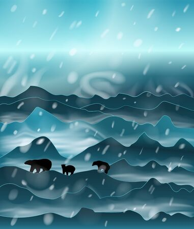 The family of polar bears mother with two cubs walks throw the snow mountains and plains at night in the snowstorm. Vector silhouette illustration with mesh shadows.