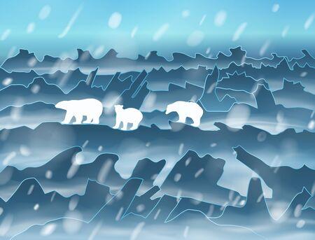 La familia de la madre de los osos polares con dos cachorros camina arrojar las montañas nevadas y llanuras por la noche en la tormenta de nieve. Ilustración de silueta con sombras de malla. Ilustración de vector