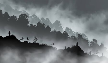 The old abandoned graveyard on the hill in front of the mountains covered with forest. Clouds of realistic fog located between the vector illustration planes.
