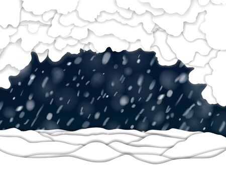 Paper snowdrifts at the ground, snowstorm and snow clouds at night background. Nice vector paper silhouette new year winter template