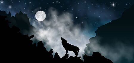 Silhouette of the wolf howling at the moon at night in front of the mountains inside the mist clouds. Vector illustration of the rock landscape.