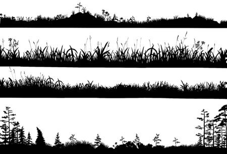 Realistic black and white vector set of silhouettes of the ground with grass, flowers, spikelets, trees on it. Hand drawn isolated illustrations for work, design, banners, landscapes.