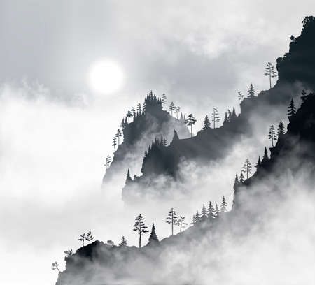 Beautiful mountain forest at early morning. Sun shines through the realistic fog clouds. Black and whte vector illustration of good quality Stock Illustratie