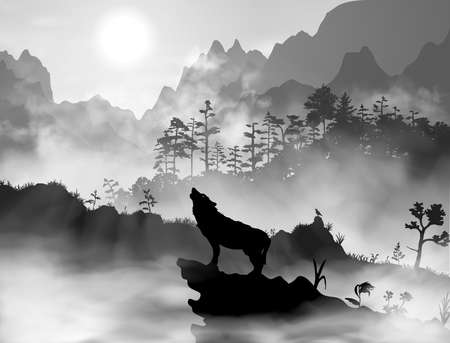 Silhouette of the wolf howling at the moon at night in front of the mountains inside the mist clouds. Hight detailed realistic black and white vector illustration Ilustración de vector