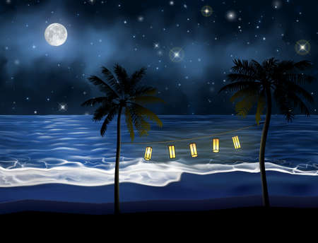 Party light hanging on the palm trees in front of the sea. Beautiful night picture of the seashore under the moon and starry sky at night