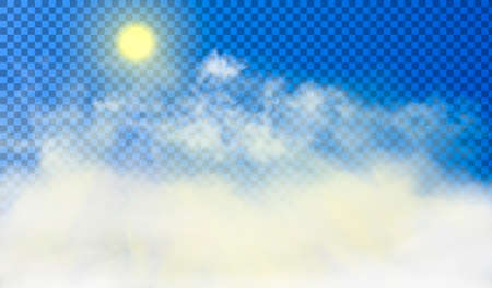 Sun is shining through the white cumulus clouds high above the ground. Beautiful realistic picture on the semi transparent background. Vector illustration